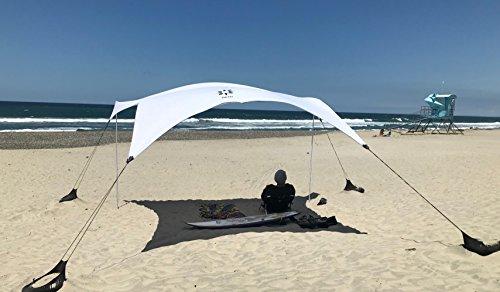 Neso Zelte Gigante Strandzelt, 2,4 m hoch, 3,4 x 3,4 m, größter tragbarer Strandschatten, UPF 50+ Sonnenschutz, verstärkte Ecken und Kühltasche (weiß)