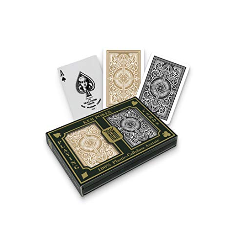 KEM Arrow Black and Gold, Poker Size- Standard Index Playing Cards (Pack of 2) - 1017399