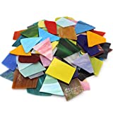 LITMIND Mosaic Tiles for Crafts Bulk, Stained Glass Sheets Shards Glass Mosaic Bathroom Accessories Set, Assorted Colors and Shapes, 35.27oz / 1kg
