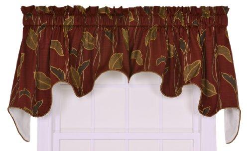 Ellis Curtain Riviera Large Scale Leaf and Vine Lined Duchess Valance Window Curtain, Cinnamon