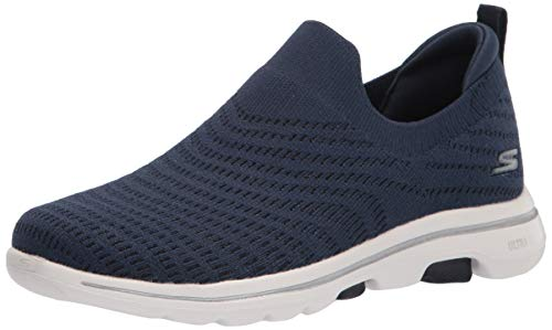 Skechers womens Go Walk 5 - Coastal View Sneaker, Navy/White, 7 US