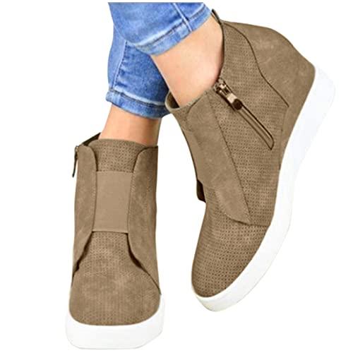 Roselan Schnürstiefel Stiefel Keilabsatz Damen Stifelette Plateauschuhe Flanell Halbstiefel Sneaker Einzelschuhe, Kurze Stiefel, nackte Stiefel, erhöhte Freizeitschuhe