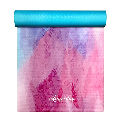 AIMERDAY Tappetino Yoga Antiscivolo Professionale Ultra Spesso, Yoga Mat Pieghevole Senza Odore ad Alta Densità 72X24 inch con Borsa da Viaggio e Tracolla, Materasso Yoga per Pilates Ginnstica (6MM)