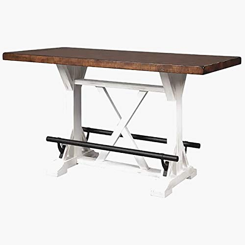 Counter Height Rustic Dining Table - Wood Dining Table with Metal Footrests - Brown