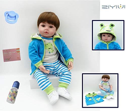 ZIYIUI Realista 22 Pulgadas 55 cm Reborn Muñeca Niño Ojos Abiertos Lifelike Reborn Doll Vinilo de Silicona Suave Recién Nacido para Reborn Niña Mayores de 3 años Magnético Juguete