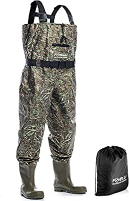 Foxelli Nylon Chest Waders - Camo Fishing Waders for Men with Boots - Use for Fly Fishing, Duck Hunting, Emergency Flooding - 100% Waterproof, Carrying Bag Included