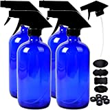 Youngever 4 Pack 16 Ounce Empty Glass Spray Bottles, Refillable Container for Essential Oils, Cleaning Products, or Aromatherapy, Trigger Sprayer with Mist and Stream Settings (Blue)