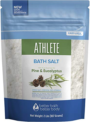 Athlete Bath Salt 32 Ounces Epsom Salt with Natural Lavender, Pine, Peppermint and Eucalyptus Essential Oils Plus Vitamin C in BPA Free Pouch with Easy Press-Lock Seal