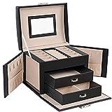 SONGMICS Jewelry Box, Travel Jewelry Case, Compact Jewelry Organizer with 2 Drawers, Mirror, Lockable with Keys, 6.9 x 5.3 x 4.7 Inches, Gift Idea, Black UJBC154B01