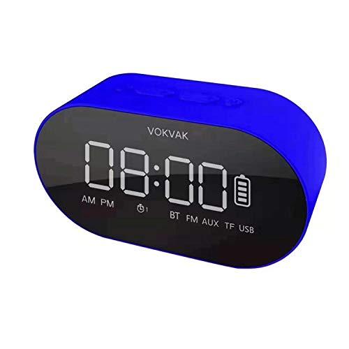 Hengci Spiegel Bluetooth luidspreker wekker geschikt voor slaapkamer, woonkamer, werkkamer, enz. 15 * 5 * 7 cm blauw