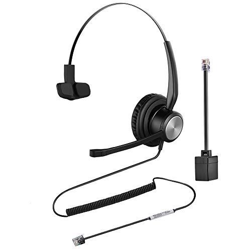 Oppetec Auriculares para teléfono con Cable RJ9, un Solo oído, Noise Cancelling micrófono, Compatible con teléfonos fijos de Avaya Mitel NEC Aastra Alcatel.