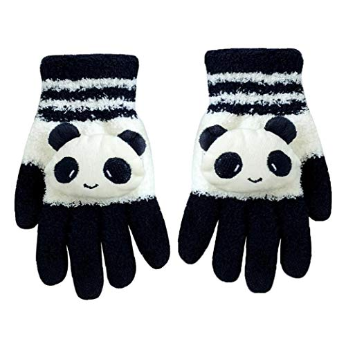 1Pair Netter Winter Wolle Touchscreen Handschuhe Fäustling Cartoon Panda-Handschuhe Texting Handschuhe großes Geschenk für Weihnachten (Schwarz Weiß Panda)