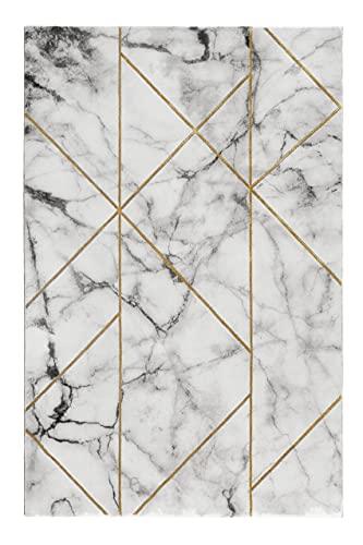 wecon home Alfombra de pelo corto gris plata crema dorado para salón, dormitorio o pasillo, M.A.R.B.L.E & G (80 x 150 cm)