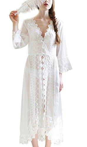 BININBOX® Damen Mädchen europäischen langen Abschnitt Pyjamas weißen Chiffon Spitze Schlafanzug Nachthemd Perspektive wunderschöner Schlafrock Nightgown, One Size , Weiß