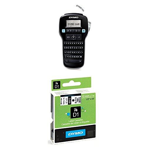 Dymo LabelManager 160 Tragbares Beschriftungsgerät + D1-Etiketten (Selbstklebend, für den Drucker LabelManager, 12 mm x 7 m Rolle) schwarz auf weiß