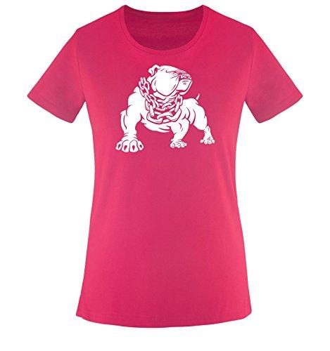 Comedy Shirts - Bulldog - Damen T-Shirt - Sorbet/Weiss Gr. XXL