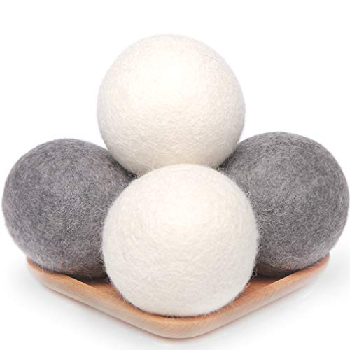 Wool Dryer Balls 4 Pack XL, 2.96inch Premium New Zealand Wool Laundry Balls, Organic Natural Fabric Softener, Baby Safe, Reduce Wrinkles and Drying Time(White & Grey)