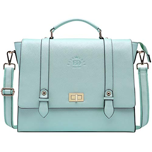 Laptop Briefcase for Women,15.6 Inch Work Tote Bag Trendy Computer Bag Business College Satchel Purse with Professional Protection Padded Compartment for Work School Travel,Mint