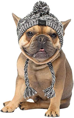 Genericb Winter Soft Dog Hats, Warm Pet Dog Knitted Hat, Windproof Knitting French Bulldog Hat for Small Medium Dogs (Small)
