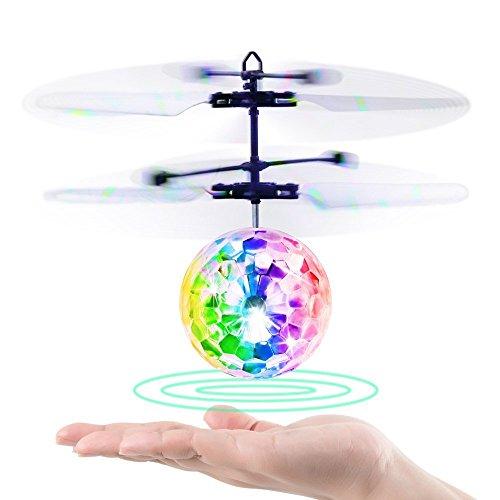 Tomleiyuan RC fliegender Ball, Infrarot Induktion Hubschrauber-Ball mit LED Shinning blinkende Beleuchtung für Kinder und Jugendliche ufo football Fußball