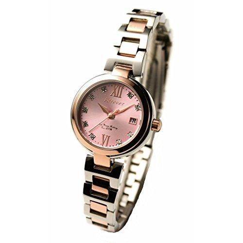 レディース腕時計 10気圧防水 10年電池ムーブ搭載 「日本製ムーブメント」 【文字盤のクリスタルが綺麗な腕時計】 簡易ベルト調整工具付き (フォーエバー)FOREVER FL-1201-2