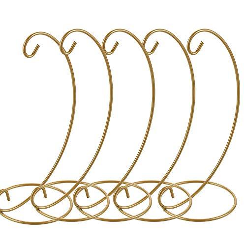 ZZMUK Ornament Display Ständer, 5 Stück Ständer Halter Eisen Hängehaken Halter Rack für hängende Glaskugeln, Luftpflanzen, Terrarium, Hexenkugel, Heim, Garten, Büro, Party, Handwerk (Golden)