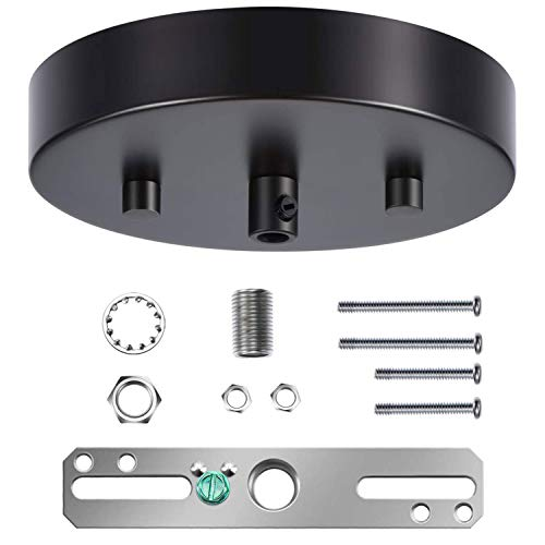 Canomo 5 1/8 Ceiling Lighting Modern Canopy Kit with Hardware - Includes Loop, Cross Bar and Mounting Screws (Matte Black)