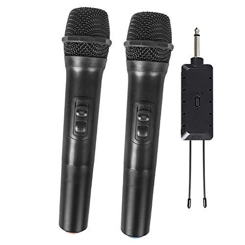 Qiandeng Sistema de micrófono de Mano inalámbrico para 2X para Karaoke, reunión, Fiesta, discurso, DJ, Boda, hogar KTV