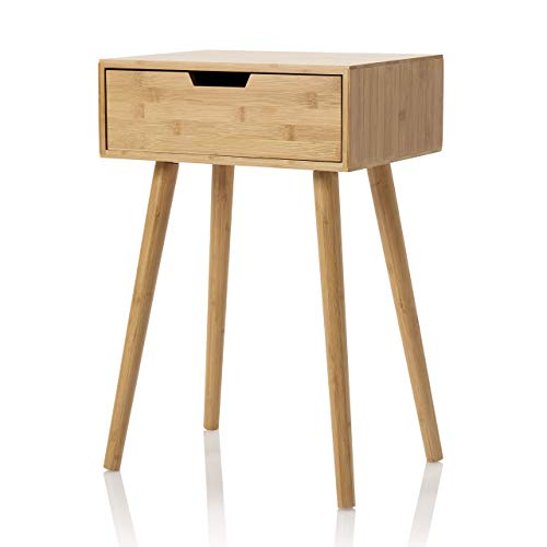 Furniture for Friends Möbelfreude - Mesilla de noche Tjark, mesa auxiliar de bambú sostenible con cajón y cuatro patas, 40 x 30 x 60 cm