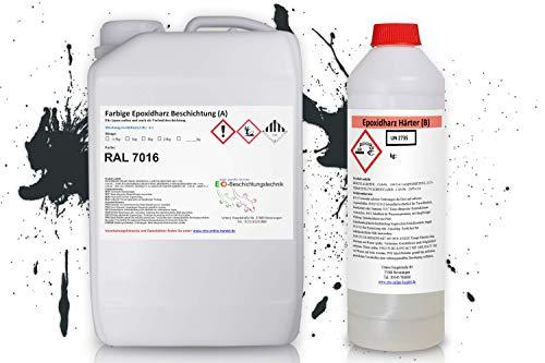 2k Epoxidharz Bodenbeschichtung Innen + Außen (10m²) Epoxy Garage KFZ Werkstatt Beton Estrich Bodenfarbe (RAL7016 Anthrazitgrau)