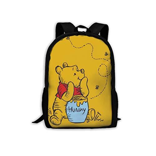 WOMFUI Klassischer Winnie-The-Pooh Laptop-Rucksack für Jungen und Mädchen, groß, 43,2 cm (17 Zoll) - -