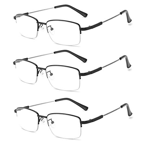 JTeam Lesebrille 3pcs Blau Lichtundurchlässige Brille Titanlegierung Metal Material Extrem Hohe Zähigkeit Progressive Multifokale Leser For Herren Und Damen (Color : Black, Size : 2.50X)