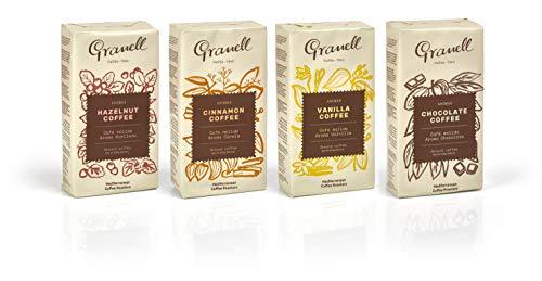 Granell Cafes-1940 Granell - Tasting Pack Aroma | 100% Arabica Kaffee Gemahlen - Gemahlener Kaffe mit Vanille, Zimt, Schokolade oder Haselnuss - 4x250 g
