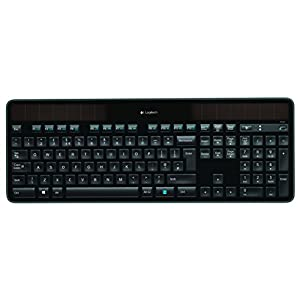Logitech K750 Wireless Solar Keyboard for Windows, 2.4GHz Wireless with USB Unifying Mini-Receiver, Laser-Etched Backlit Keys, Ultra-Thin, Ecologically Made, PC/Laptop QWERTY UK Layout – Black