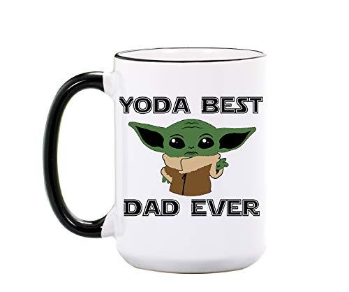 Yoda Best Dad Ever Mug - Large 15 oz or 11 oz Ceramic Cup - Yoda Best Dad Mug for Dad - Yoda Coffee Cup for Fathers Day - Star Wars Mugs for Men - Dishwasher & Microwave Safe - Made In USA