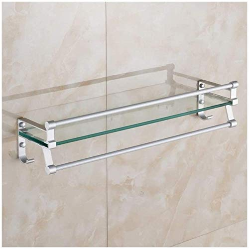 Estantes de exhibición Estante de vidrio para baño Aluminio Estantería de ducha de vidrio templado extra grueso Organizador de almacenamiento de montaje en pared de estilo moderno