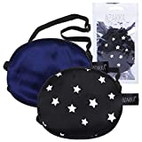 eZAKKA Eye Patches for Adults Kids 2 Pieces Silk Elastic Lazy Eye Patches for Amblyopia Strabismus (M, Black with Star+Navy)