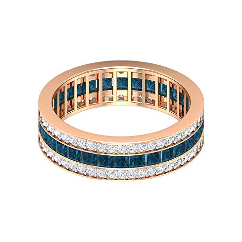 Antiker Eternity Ring, 1,5 Karat Blautopas London Ring, HI-SI 3/4 CT Diamant-Ehering, Vintage Jubiläumsring, breiter Bandring, Brautring, 14K Roségold, Size:EU 54