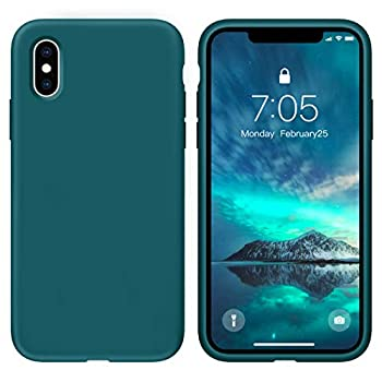 OUXUL Case for iPhone X/iPhone Xs 5.8 inch Liquid Silicone Gel Rubber Phone Case Full Body Slim Soft Microfiber Lining Cushion Shockproof Protective Case  Blackish Green