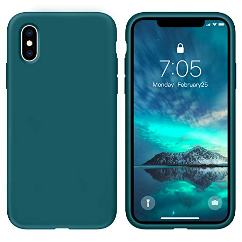 OUXUL Case for iPhone X/iPhone Xs 5.8 inch Liquid Silicone Gel Rubber Phone Case, Full Body Slim Soft Microfiber Lining Cushion Shockproof Protective Case (Blackish Green)