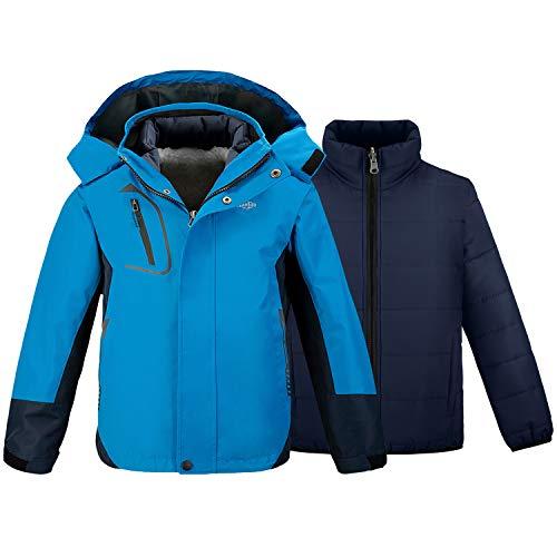 Wantdo Boy's Waterproof Camping Rain Jacket Windproof Warm Coat Blue 10/12