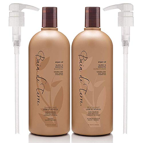 Bain de Terre Argan Oil Sleek and Smooth Shampoo & Conditioner with Argan and Monoi Oil, Paraben-Free, with Pumps 33.8 Fl Oz each