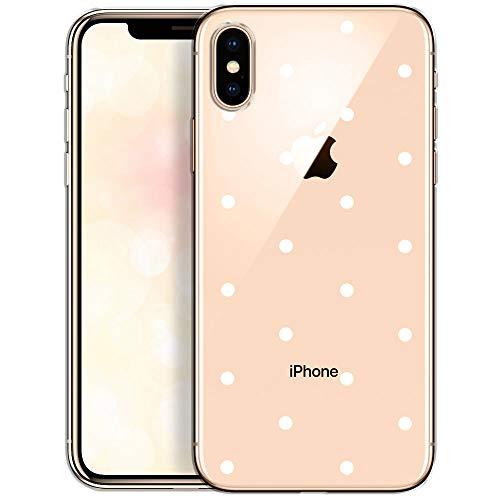 QULT Carcasa para Móvil Compatible con iPhone XS MAX Funda Slim Silicona Transparente Suave Bumper Teléfono Caso para iPhone XS MAX con Dibujo Puntos Blancos
