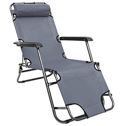 AMANKA Chaise Longue inclinable et Pliante Transat de Jardin 153 cm + appuie-tête Amovible + Repose-Jambes et Dossier inclinables Gris