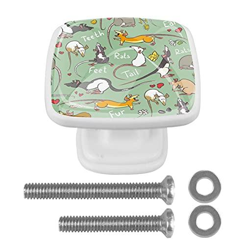 Perillas cuadradas de plástico con diseño lindo de aspecto moderno Fantasía Animal Rata Verde Tirador de puerta para armario, cajón, armario, 4 paquetes 3x2.1x2 cm