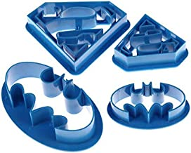 4 pieces of batman and superman Cookie Cutter, Plastic Sandwiches Cutter Biscuit Mold Cookie Cutter for Kids Suitable for ...