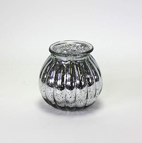 Deko Windlicht Mercury Glas Bauernsilber Vase Blumenvase Teelichtglas Tischdeko Silberglas