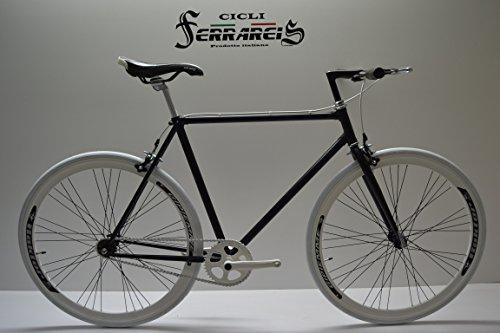 Cycli Ferrareis Fixed Bike Single Speed Singlespeed Fahrrad Fixed 1 V weiß schwarz