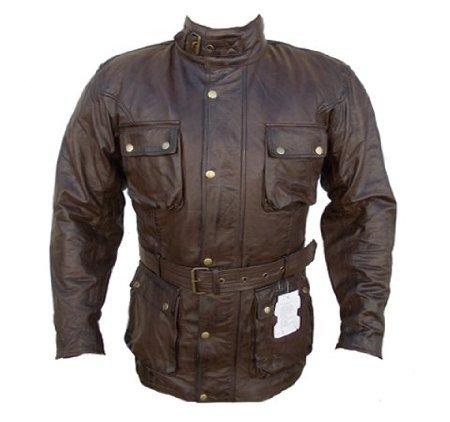 Bikers Gear UK Australian Bikers Gear–TrailMaster marrone vintage classico cerato età trattati da moto in pelle giacca taglia XXL