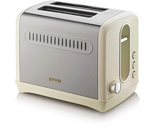 Gorenje T1100CLI Toaster mit 6 Röstgradstufen und QuickDefrost-Funktion - Creme / Edelstahl